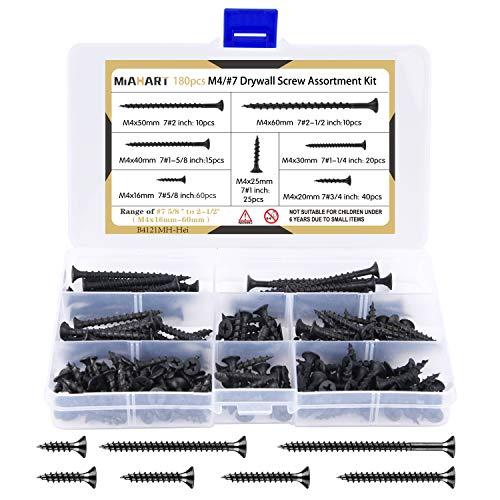 MIAHART 180 Stk M4 Schwarzes Holzschraubensortiment Grobgewindeharfe Punkt selbstschneidende Schrauben 7 Größen Trockenbauschrauben für Trockenbau-Sheetrock-Holzmöbel und -schränke