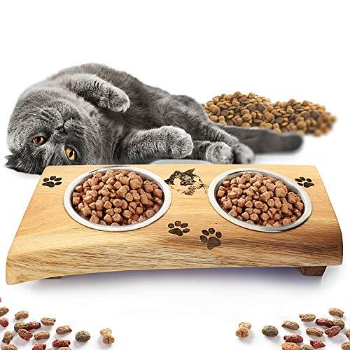Ciotola per gatti con incisione con due ciotole in acciaio inox, ciotole con mangiatoia in rovere, doppia ciotola per gatti, accessori per gli amanti dei gatti