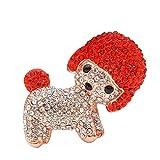 U/N Broches de Perro de Diamantes de imitación para Mujeres Lindo Perrito Pin Esmalte Animal Broche Abrigo Accesorios joyería de Invierno