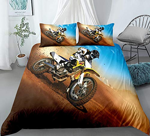 Prinbag Extreme Mountain Bike Passion 3D Bedding Luxury Designer Duvet Cover Comforter Pillowcase Sets Full Size 135x200cm + 50x75cm * 1