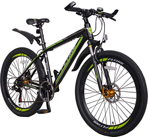Flying Unisex's 21 Speeds Alloy Frame with Shimano Parts Lightweight Mountain Bike, Green Black 1, 26