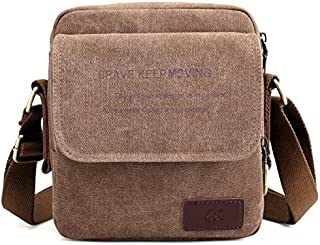 DIEBELLAU Men's Canvas Bag Shoulder Slung Small Bag Fashion Sports and Leisure Multi-Function Carry Bag Men's Outdoor Small Bag (Color : Brown)