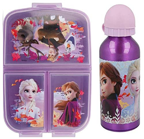 Set Botella de Agua de Aluminio Infantil Fiambrera sandwicheras con 3 Compartimentos para niñas niños, cantimplora térmica a Prueba de Fugas sin BPA Termo 400 ml