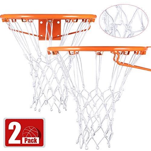 Syhood 2 Paquetes Redes de Canasta Red de Aro de Repuesto para Casi Todo Tiempo, Ajuste Aro de Baloncesto Estándar Interior o Exterior, 12 Bucle (Blanco)