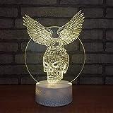 Animal dominante águila y cráneo base agrietada lámpara de mesa pequeña creativa acrílico multicolor luz nocturna pequeña luz de visión 3D luz LED lámpara de mesa pequeña decorativa creativa