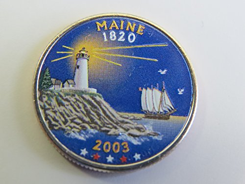 2003 Various Mint Marks Maine State Colorized Quarter Choice Uncirculated