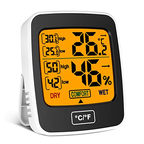 Uarter Room Thermometer Digital Indoor Hygrometer-Temperature and Humidity Monitor Room Moisture Meter with LCD Touch Screen for Home Office Nursery Comfort - Thermo Hygrometer with Min & Max Records