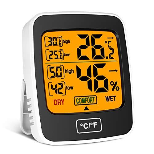 Uarter Termómetro digital para interiores, higrómetro, temperatura y humedad, medidor de humedad con pantalla táctil LCD para el hogar, oficina, guardería, termo higrómetro con registros