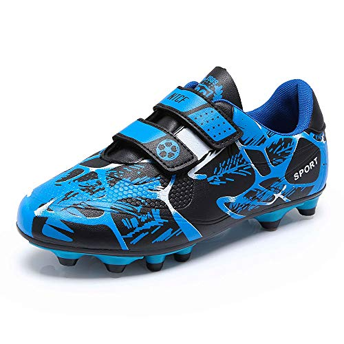 Jungen Fussballschuhe Kinder Halle Fußballschuhe FG/AG Low Top Klettverschluss Indoor Trainingsschuhe Fussball Schuhe Outdoor Football Shoes Sneaker für Unisex-Kinder Blau 29