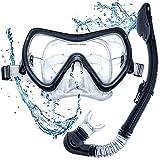 DIVE IT Snorkel Mask - Snorkel Set - Scuba Mask with Dry Snorkel Anti-fogging Lens & Dual Strap System (Black\Grey)
