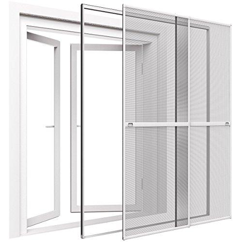 PROHEIM Insektenschutz Doppelschiebetür 230 x 240 cm mit ALU Rahmen in Weiß Premium Fliegengitter Tür mit Klemmzarge Insektenschutztür zum Klemmen Montage ohne Bohren Länge kürzbar Farbwahl
