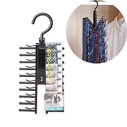 WeZest Krawattenhalter für 20 Krawattenhalter, Schal, Gürtelhalter für rutschfeste 360 Grad drehbare Kreuz-X-Haken