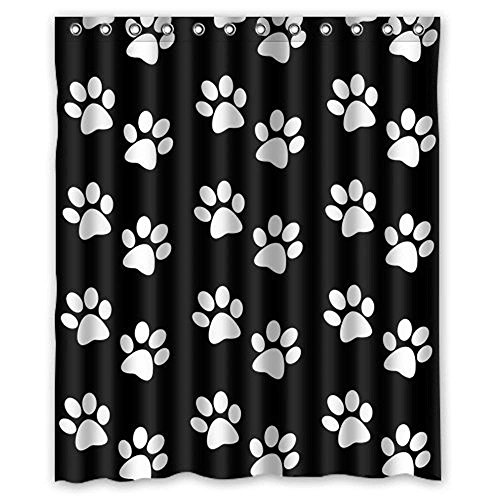 "YEHO Art Painting Dog Paw Prints Waterproof Fabric Polyester Bathroom Shower Curtain Shower Rings Included -Best Visual Enjoyment For You 48"" x 72"""