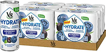 V8 +Hydrate Plant-Based Hydrating Beverage, Blueberry Acai, 8 oz. Can, 6 Count (Pack of 4)