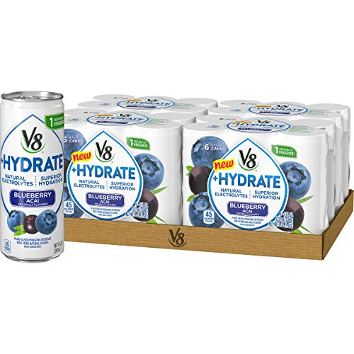 V8 Hydrate PlantBased Hydrating Beverage Blueberry Acai 8 oz Can 6 Count Pack of 4