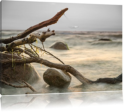 Preisvergleich Produktbild Pixxprint Ruhige See im Nebel als Leinwandbild / Größe: 120x80 / Wandbild / Kunstdruck / fertig bespannt