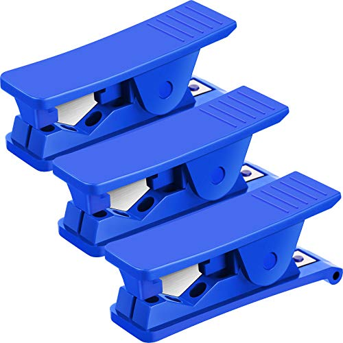 3 Pieces PTFE Tube Cutter Pipe Tube Hose Cutter Pipe Cutter Accurate Tubing Cutting Tool for Nylon PVC PU Plastic Tube and Hose Cut up to 3/4 Inch OD Tube (Blue)
