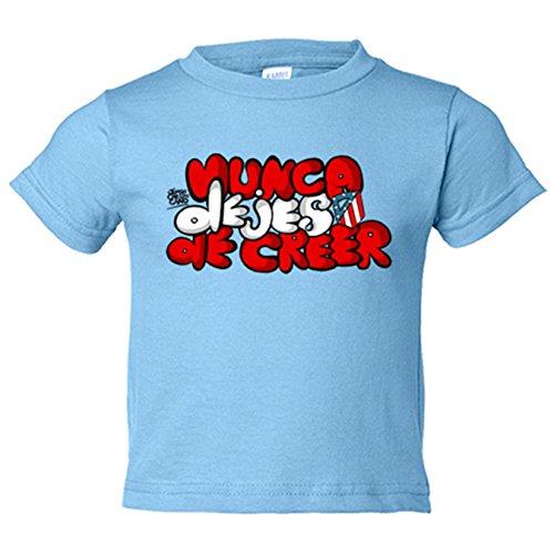 Camiseta niño Atlético de Madrid letras nunca dejes de creer - Celeste, 7-8 años