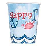 Unique Party 58176 Pappbecher mit nautischem Motiv für Jungen zum 1. Geburtstag, 8 Stück, papier, mehrfarbig