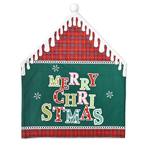 Charm4you Rojo Decoración Navideña Fundas para Sillas,2020 Nueva Funda de Silla de decoración navideña-Green_2pcs,Cubierta Silla Comedor Sombrero Navidad