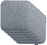 Brandsseller Sitzkissen Filz Eckig Stuhlkissen Sitzauflage Gepolstert - 35 x 35 x 2 cm - 6er Vorteilspack - Hellgrau