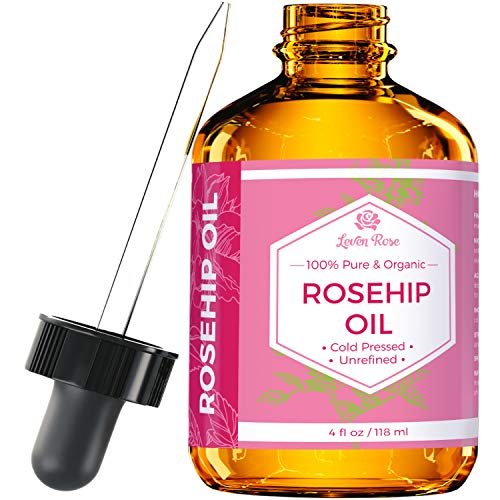 Rosehip Seed Oil by Leven Rose, 100% Pure Organic Unrefined Cold Pressed Anti Aging Rose Hip Moisturizer for Hair Skin & Nails, 4 Fl. oz…