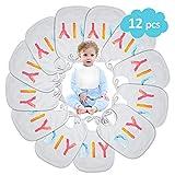 Conjunto de Baberos Blancos para Recién Nacidos, ARPDJK 12Pcs Baberos de...