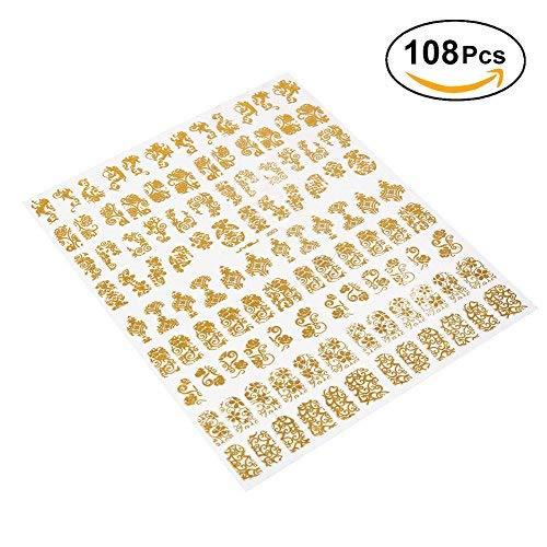 108 Pièces Autocollants pour ongles 3D Nail Stickers Autocollant DIY Nail Autocollant Pour Décorations Ongles Mixte Conceptions DIY Nail Decration Outils(Or)