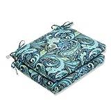 Pillow Perfect Outdoor Sitzkissen, Paisleymuster, quadratisch, Marineblau, 2 Stück