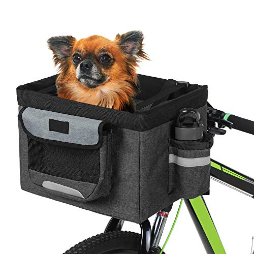 Fealay 10 kg de Carga Manillar de la Bici Frente de la Cesta, Plegable de Tela Oxford Bicicletas Gato del Perro del Portador del Animal doméstico Caja de Viaje del Perro