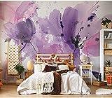 3D Papel Pintado Fotográfico Flor morada Tela no tejida Fotomurales TV Fondo Salón Dormitorio Pasillo Murales Papel Tapiz Moderno Decoración 200x150 cm