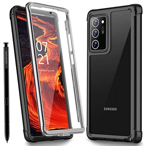 Oterkin Samsung Galaxy Note 20 Ultra Hülle, 360 Grad Transparent Stoßfest mit Eingebautem Displayschutz Robust TPU Bumper Handyülle Schutzhülle für Samsung Note 20 Ultra, 6,9 Zoll 2020 (Schwarz+Klar)