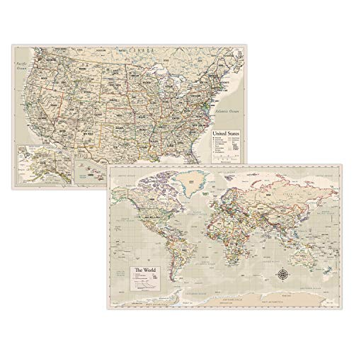 Antique Laminated World Map & US Map Poster Set - 18' x 29' - Wall Chart Maps of The World & United States - Made in The USA - Updated for 2020 (Laminated, 18' x 29')