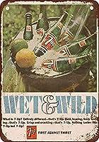 1966 Wet Wild 7up 金属板ブリキ看板警告サイン注意サイン表示パネル情報サイン金属安全サイン