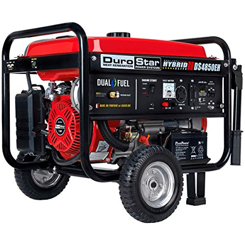 Durostar DS4850EH Dual Fuel Portable Generator-4850 Watt Gas or Propane Powered Electric Start-Camping & RV Ready, 50 State Approved, Red/Black