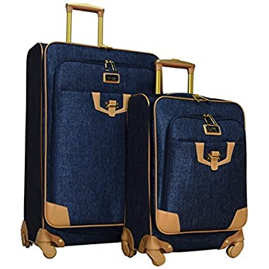Nicole Miller Paige Collection 2-Piece Expandable Spinner Luggage Set: 28  and 20  (Navy)