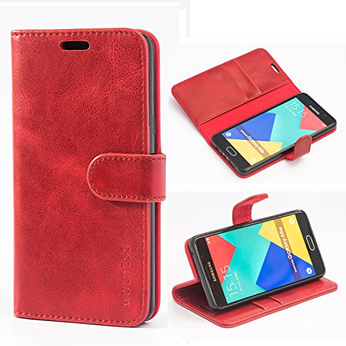 Mulbess Handyhülle für Samsung Galaxy A5 2016 Hülle, Leder Flip Hülle Schutzhülle für Samsung Galaxy A5 2016 Tasche, Wein Rot