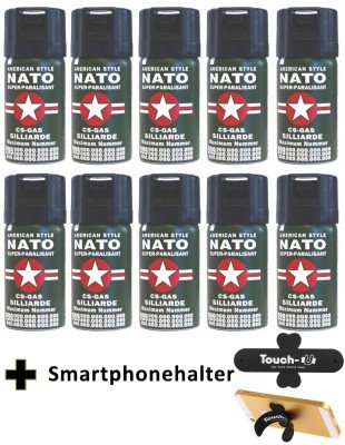 10 Stück CS GAS NATO Tränengas 40ml Abwehrspray CS-GAS
