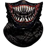 Obacle Face Mask Bandana Half Face Mask Dust Wind Sun Protection Durable Thin Neck Gaiter 3D Tube Face Cover Mask for Men Women Motorcycle Fishing Bike Riding (Teeth Open Mouth White Eyes)