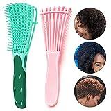 Cepillo desenredador, Cepillo para alisar el cabello Cepillos para desenredar el cabello suave y de gran tamaño, antiestático, apta para Pelo Afro 3a hasta 4c, Ondulado, Rizado, 8 Filas