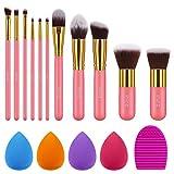 Syntus Makeup Brush Set, 11 Makeup Brushes & 4 Blender Sponges & 1 Brush Cleaner Premium Synthetic Foundation Powder Kabuki Blush Concealer Eye Shadow Makeup Brush Kit, Pink Golden