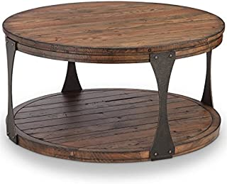 "Magnussen Montgomery 36"" Round Industrial Coffee Table in Bourbon"