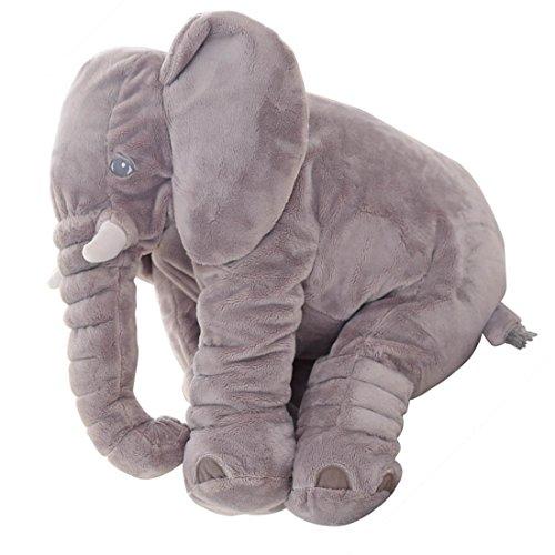 KiKa Mono Bebé Elefante Almohada Bebé Juguete de Peluche Animal Almohada / Cojín para Niños (Gris)