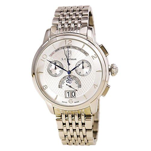 S.Coifman SC0183 Orologio da Polso, Display Cronografo, Uomo, Bracciale Acciaio Inox, Argento