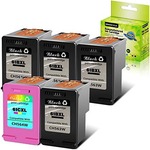 GREENCYCLE 5 PK Remanufactured Ink Cartridge Compatible for HP 61XL 61 XL CH561WN CH562WN Envy 4500 5530 5534 5535 Deskjet 2540 1000 1010 1512 1510 3050 4630 2620 4635 Printers (4 Black, 1 Tri-Color)