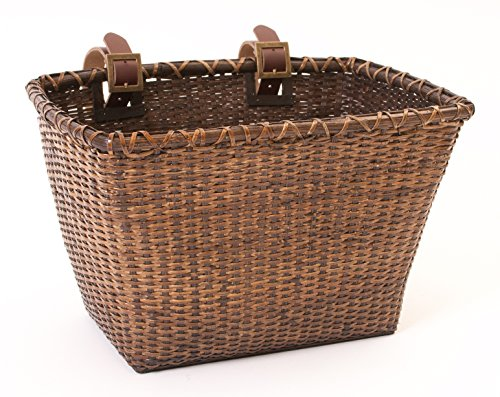 Retrospec Bicycles Cane Woven Rectangular Toto Basket with Authentic Leather Straps and Brass Buckles, Dark Stain