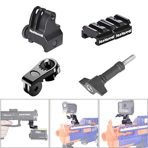 Kit de montaje de riel de pistola, adaptador de riel para pistola Picatinny Nerf, soporte para pistola de airsoft,escopeta, rifle, pistola para cámara de acción GoPro 7/6/5/4/3+/3/Sesión Sony