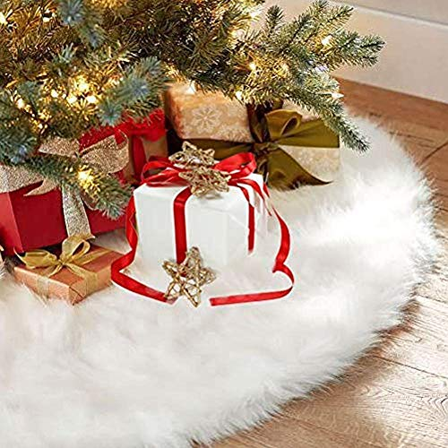 Sopito Christmas Tree Skirts, 36Inch Faux Fur White Tree Skirts for Xmas New Year Party Holiday Home Decorations