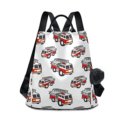 Cartoon Fire Truck Women's Fashion Backpack 12.9 13 Inch Notebook Laptop Shoulders Bag for Outing, Shopping, Traveling, Going Out