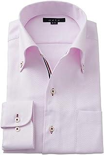 [オジエ] ozie【メンズ・ワイシャツ・カッターシャツ】スリム・長袖・形態安定・綿100%・イタリアンカラー・ボタンダウン